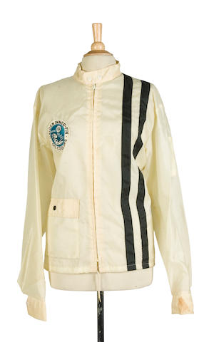 A cream nylon jacket,