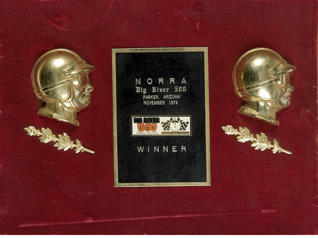 A winner's trophy for NORRA Big River 500, 1973,