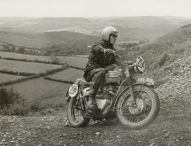 A photograph of Ekins on Welsh ISDT, 1961