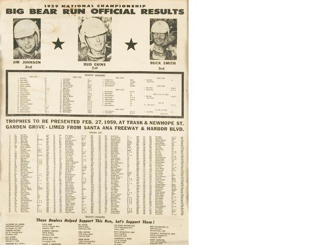 A 1959 Big Bear Run Official Results poster,