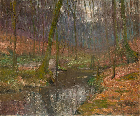 John Leslie Breck (American, 1860-1899) The river Epte, Giverny 19 3/4 x 24 unframed