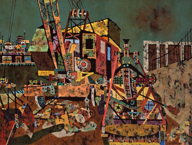 Sidney Gross (American, 1921-1969) Boom Times  30 x 40in