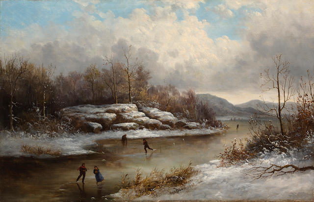 (n/a) William Charles Anthony Frerichs (American, 1829-1905) Skating in winter 21 3/4 x 34in