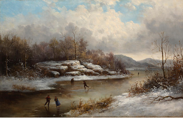 William Charles Anthony Frerichs (American, 1829-1905) Skating in winter  21 3/4 x 34in