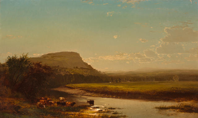 Arthur Parton (American, 1842-1914)  Sunset on the Hudson 1873 24 x 40in