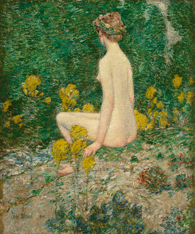 Childe Hassam (American, 1859-1935) Goldenrod 24 x 20in