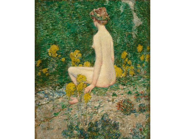Childe Hassam (American, 1859-1935) Goldenrod 24 x 20in