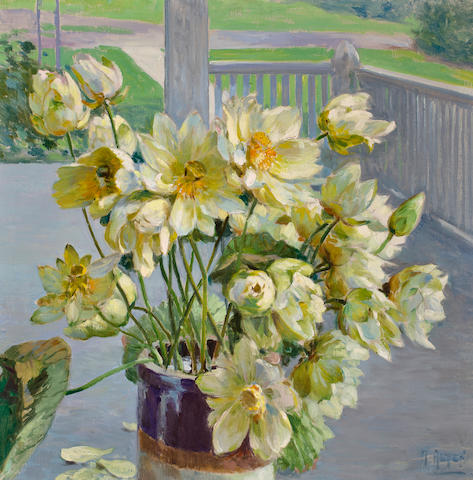 Mathias Joseph Alten (American, 1871-1938) Lotus blossoms on a porch 36 x 36in