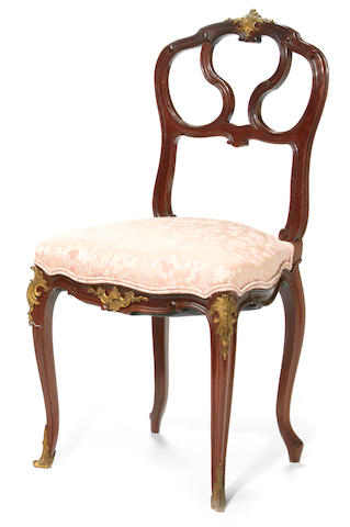 A Louis XV style gilt bronze mounted mahogany side chair <br>François Linke<br>circa 1900