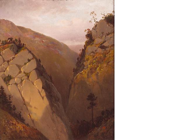 (n/a) Lemuel Maynard Wiles (American, 1826-1905) Penetentia Canyon near Santa Clara, California, 1876 11 x 9in