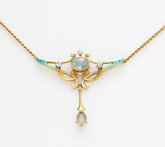 An art nouveau diamond, aquamarine, enamel and 14k gold necklace