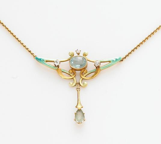 An art nouveau diamond, aquamarine, enamel and 14k gold necklace
