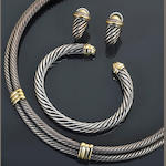 A 14k gold and sterling silver jewelry set, David Yurman