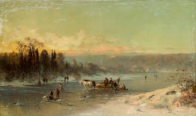 (n/a) Thomas Hill (American, 1829-1908) Figures on a horse drawn sledge and figures ice fishing on a frozen river with a town beyond 36 x 60in