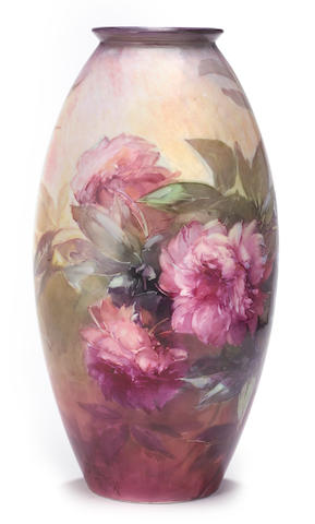 Franz Arthur Bischoff (American, 1864-1929) Large ovoid vase with peonies height: 21in