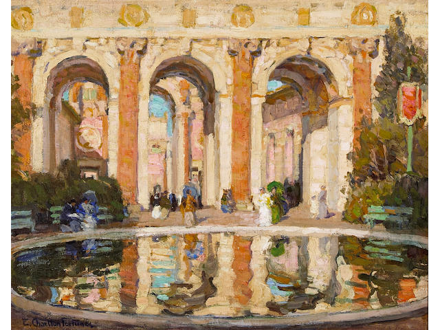 (n/a) E. Charlton Fortune (1885-1969) The Pool, Palace of Fine Arts, San Francisco (Court of the Four Seasons), circa 1915 16 1/4 x 20in