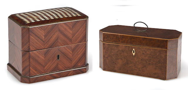 A Late George III inlaid burlwood tea caddy and a French ivory inlaid rosewood small box