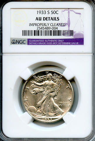 1933-S 50C AU Details, Improperly Cleaned NGC