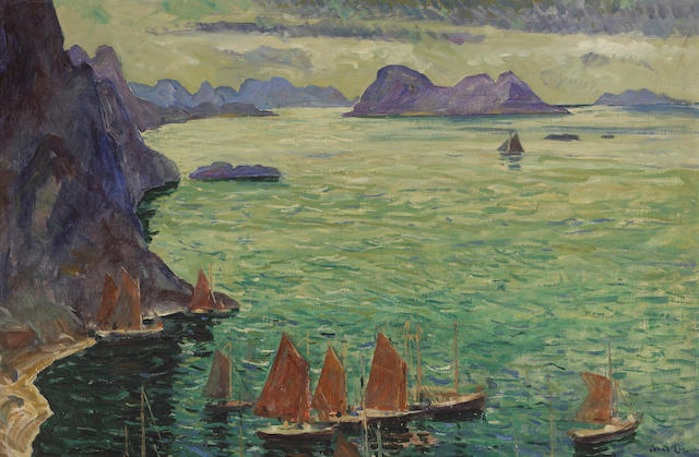 Jonas Lie (Norwegian, 1880-1940) Rockbound coast 30 x 45in