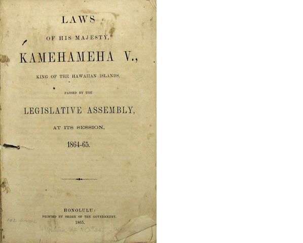 [HAWAII - LAWS.] Laws of His Majesty, Kamehemeha V.... Honolulu: 1865.18564