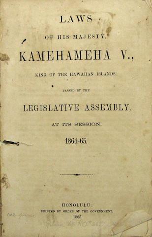 [HAWAII - LAWS.] Laws of His Majesty, Kamehemeha V.... Honolulu: 1865.18564