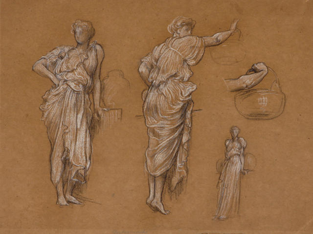 Circle of Sir Edward John Poynter, PRA RWS (1836-1919) Figure studies 10 1/2 x 13 1/2in unframed