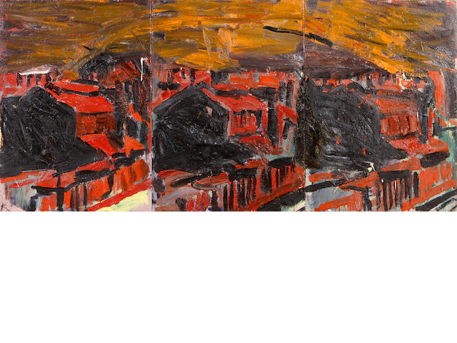 Roger Herman (German, born 1947) Sunset and Industry, 1980 (triptych) overall 36 x 78 1/2in unframed