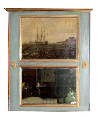A trumeau mirror with maritime painting