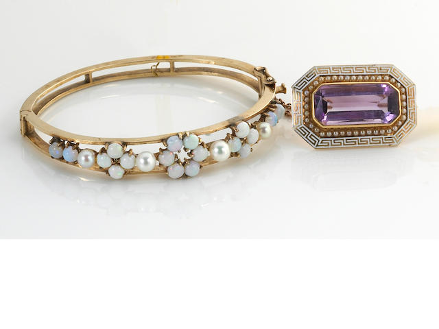 An amethyst, enamel, seed pearl and 14k gold brooch together with an opal, cultured pearl and 14k gold bangle