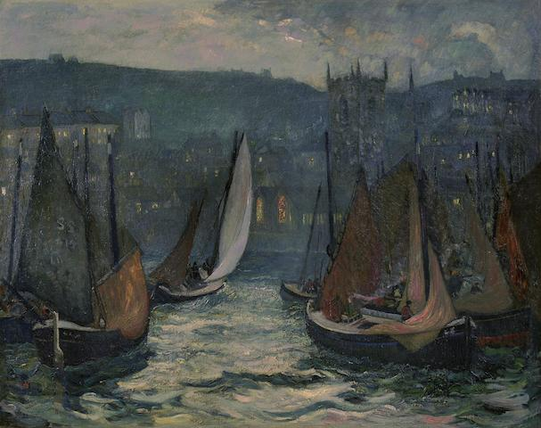 Richard Hayley Lever (American, 1876-1958) Harbor scene, St. Ives 40 x 50in