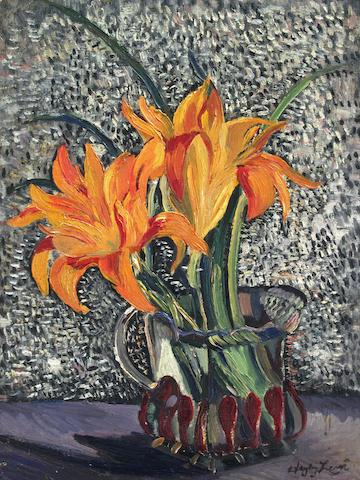 Richard Hayley Lever (American, 1876-1958) Still life with lilies, Monarch Butterfly, Lily: Three 16 x 12in, 13 1/4 x 10 1/4in, 10 x 8in respectively