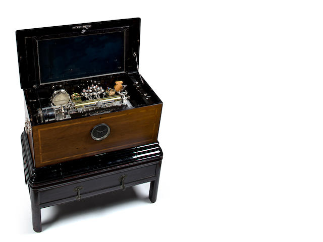 A rare Oiseau Chantant part-Orchestral timepiece-actuated interchangeable music box, Circa 1885,