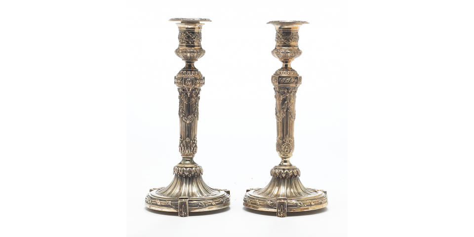 French silver-gilt pair of candlesticks