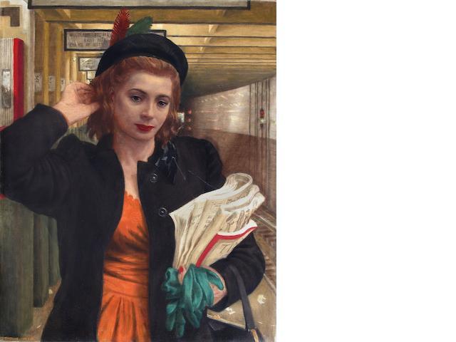 Douglas Warner Gorsline (American, 1913-1985) The morning commute 27 x 22in'