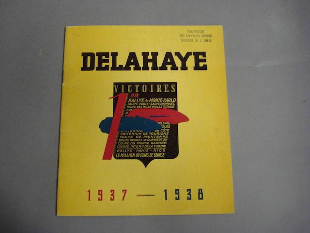 An original Delahaye Victoires sales brochure, 1937-1938,