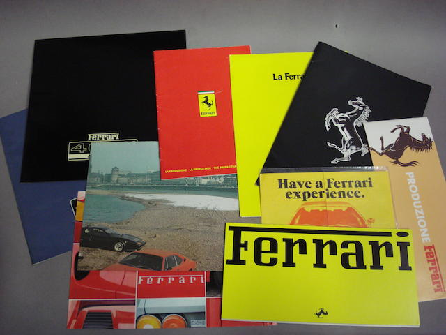 A selection of 1980s Ferrari sales and promotional literature,
