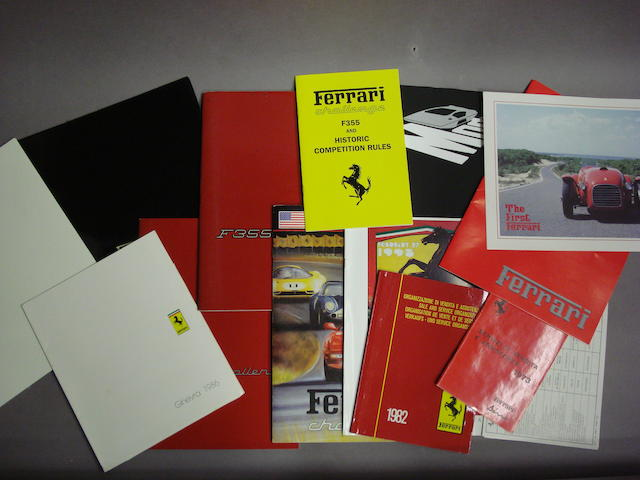 A quantity of 1980s and '90s Ferrari sales literature,