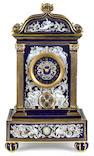 A Meissen porcelain limoge enamel mantel clock