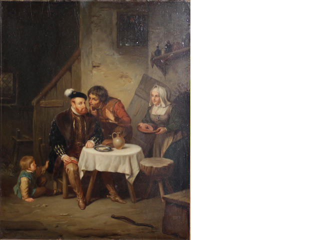 J. Gilin (19th century) Figures gathered around a table 19 x 15in
