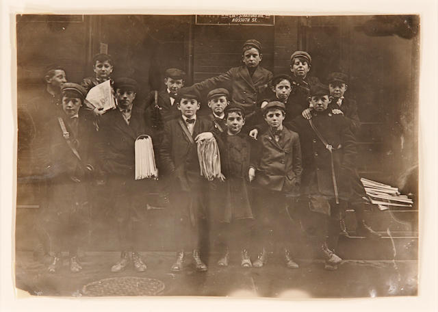 Lewis Wickes Hine (American, 1874-1940); Newsboys, Bridgeport Conn.;