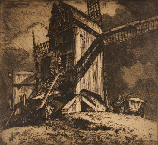 Sir Frank Brangwyn, R.A. (British, 1867-1956) Windmill etching, signed