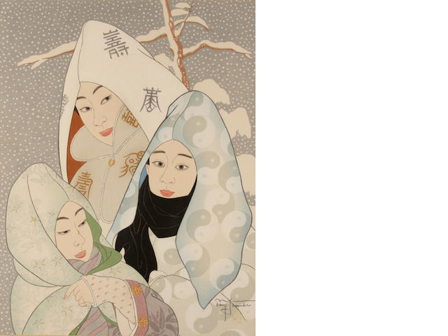 Paul Jacoulet, Flocons de neige, Pegyong, coree, color woodcut