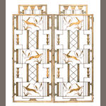 A pair of Edgar Brandt gilt and patinated wrought iron door panels 1920s