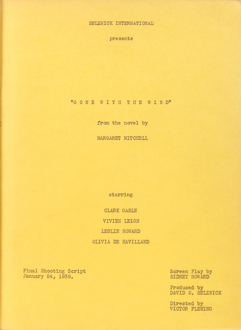 """A Hattie McDaniel owned 'presentation copy' script signed and gifted to her by David O. Selznick from """"Gone With The Wind"""""""