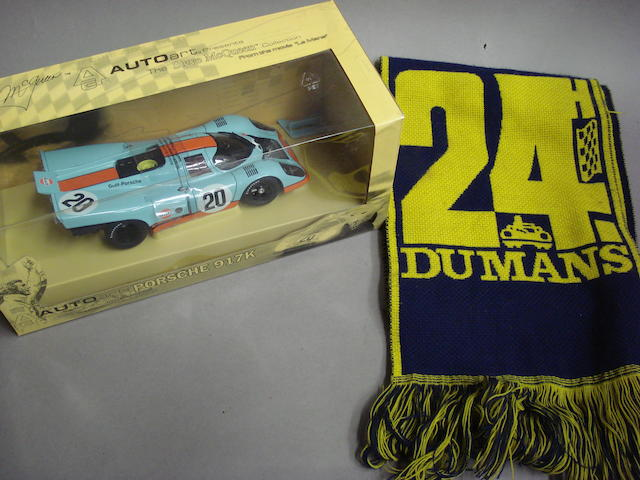 A 1:18 scale model of Steve McQueens Porsche 917K from the movie Le Mans,