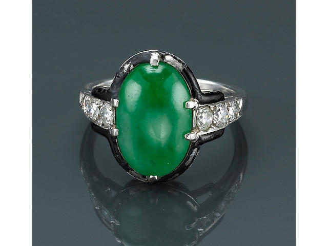 An art deco jadeite jade, diamond and enamel ring, Cartier,