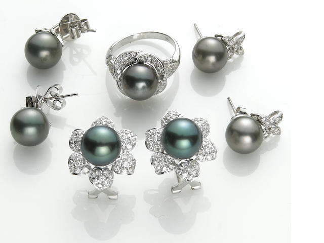 A collection of black cultured pearl, diamond, platinum and 18k white gold jewelry