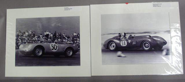 Two monochrome Californian motor racing photographs,