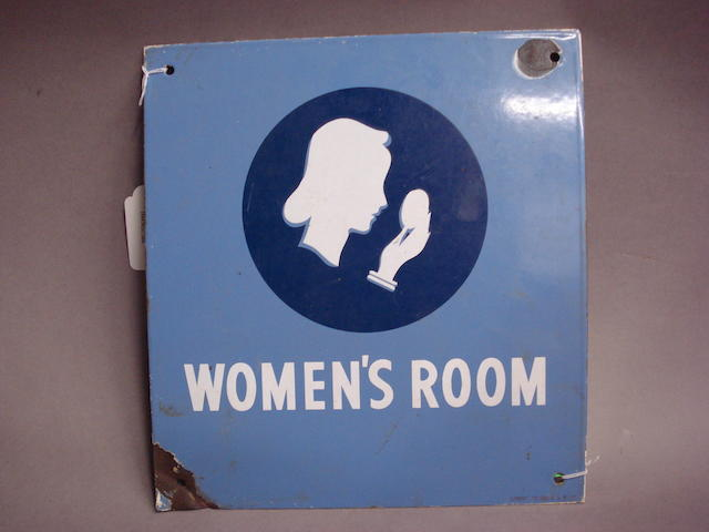 A Union Oil Company 'Women's Room' enamel advertising sign, 1939,