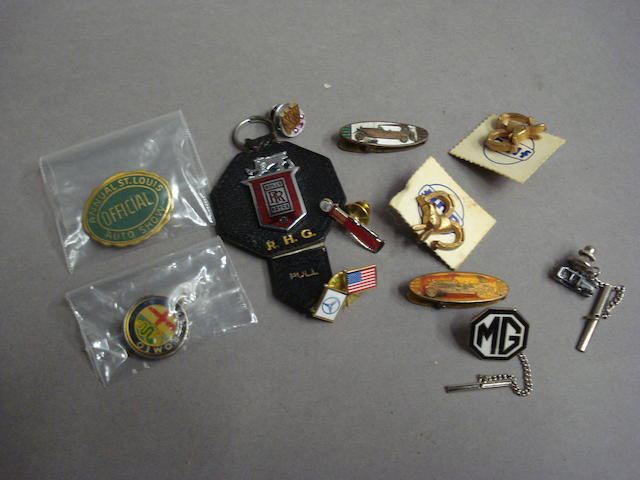 A selection of motoring lapel badges, tie tacks and pins,
